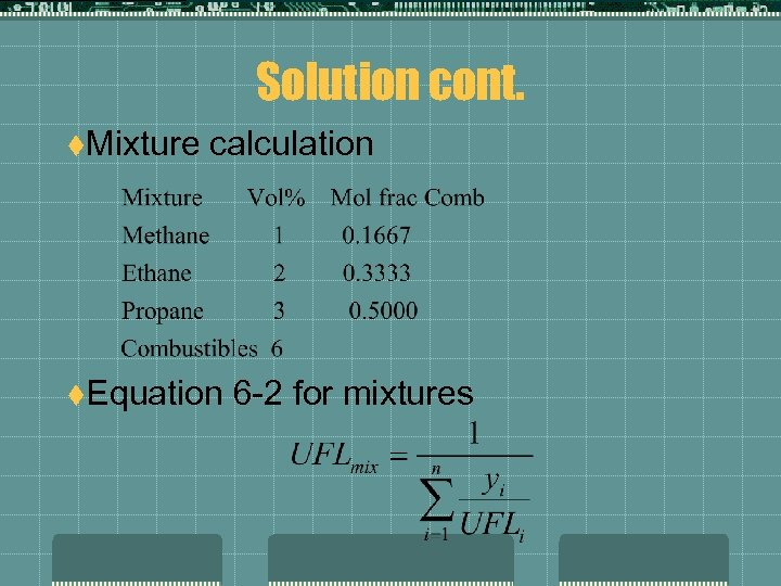 Solution cont. t. Mixture calculation t. Equation 6 -2 for mixtures