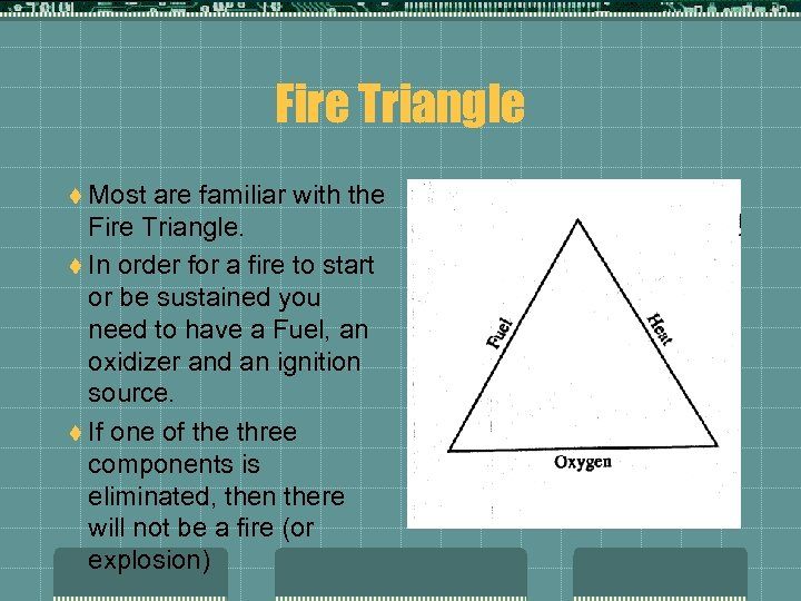 Fire Triangle t Most are familiar with the Fire Triangle. t In order for