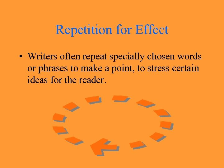 Repetition for Effect • Writers often repeat specially chosen words or phrases to make