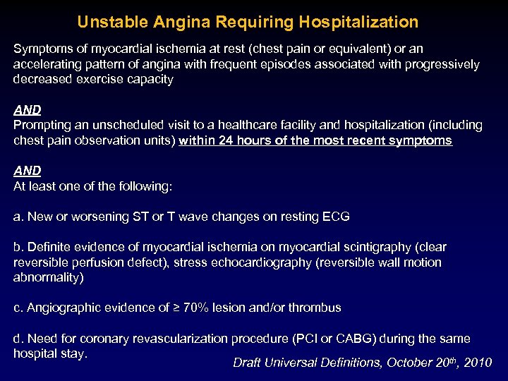 Unstable Angina Requiring Hospitalization Symptoms of myocardial ischemia at rest (chest pain or equivalent)