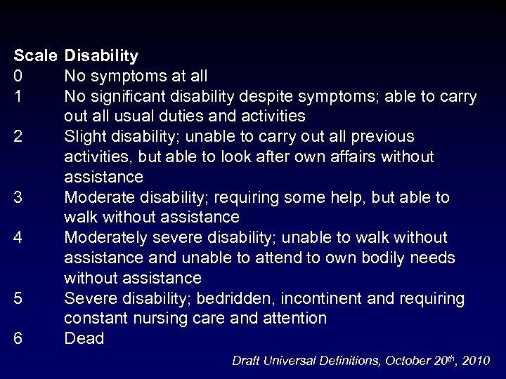 Scale Disability 0 No symptoms at all 1 No significant disability despite symptoms; able