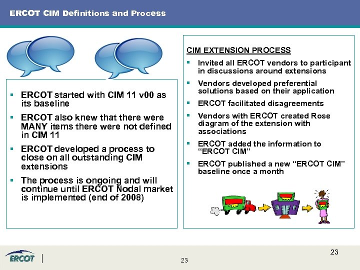 ERCOT CIM Definitions and Process CIM EXTENSION PROCESS § Invited all ERCOT vendors to