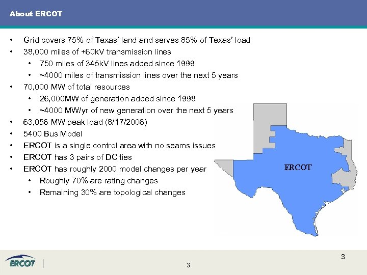 About ERCOT • • Grid covers 75% of Texas' land serves 85% of Texas'