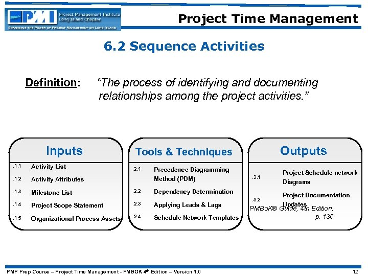 """Project Time Management 6. 2 Sequence Activities Definition: """"The process of identifying and documenting"""