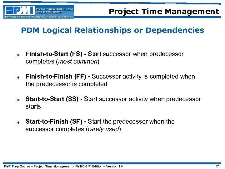 Project Time Management PDM Logical Relationships or Dependencies Finish-to-Start (FS) - Start successor when