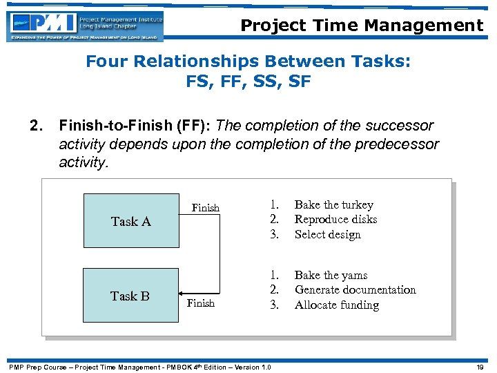 Project Time Management Four Relationships Between Tasks: FS, FF, SS, SF 2. Finish-to-Finish (FF):