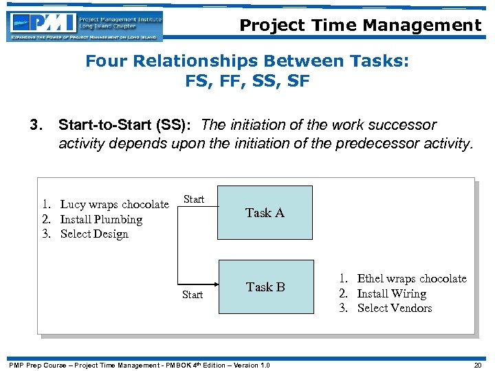 Project Time Management Four Relationships Between Tasks: FS, FF, SS, SF 3. Start-to-Start (SS):