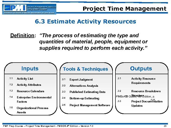"""Project Time Management 6. 3 Estimate Activity Resources Definition: """"The process of estimating the"""