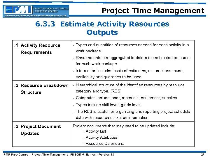 Project Time Management 6. 3. 3 Estimate Activity Resources Outputs. 1 Activity Resource Requirements