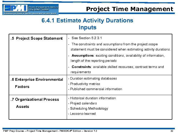 Project Time Management 6. 4. 1 Estimate Activity Durations Inputs • See Section 5.