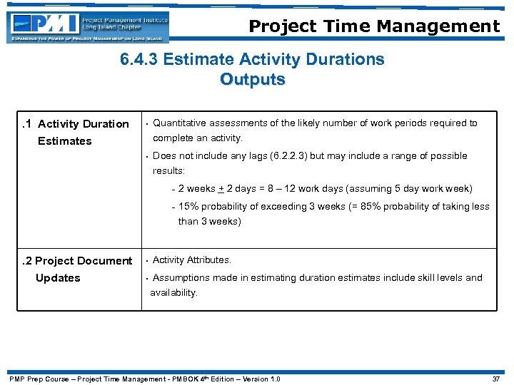 Project Time Management 6. 4. 3 Estimate Activity Durations Outputs. 1 Activity Duration Estimates