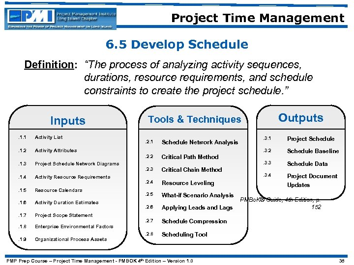 """Project Time Management 6. 5 Develop Schedule Definition: """"The process of analyzing activity sequences,"""