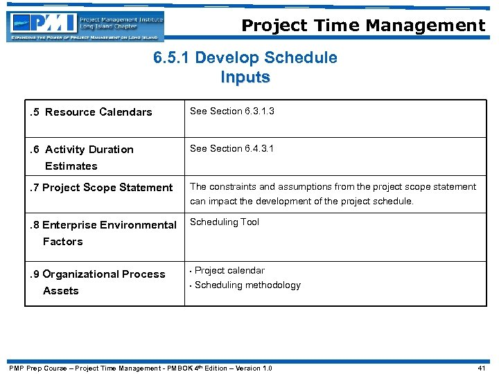 Project Time Management 6. 5. 1 Develop Schedule Inputs. 5 Resource Calendars See Section