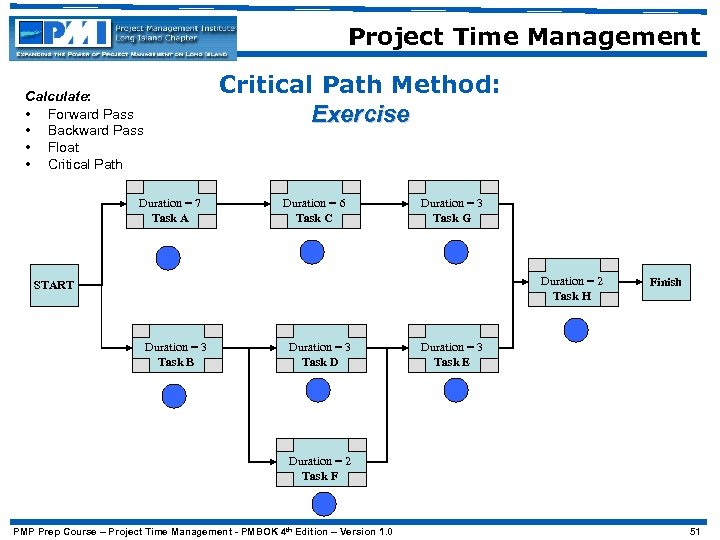 Project Time Management Critical Path Method: Exercise Calculate: • Forward Pass • Backward Pass