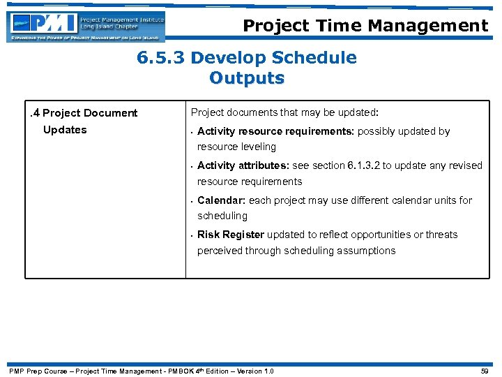 Project Time Management 6. 5. 3 Develop Schedule Outputs. 4 Project Document Updates Project