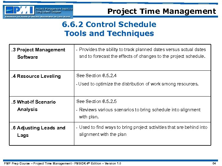 Project Time Management 6. 6. 2 Control Schedule Tools and Techniques. 3 Project Management