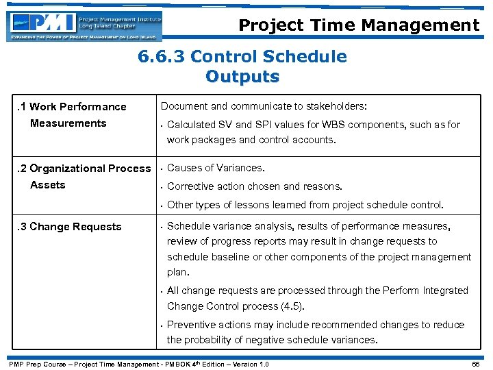 Project Time Management 6. 6. 3 Control Schedule Outputs. 1 Work Performance Measurements Document