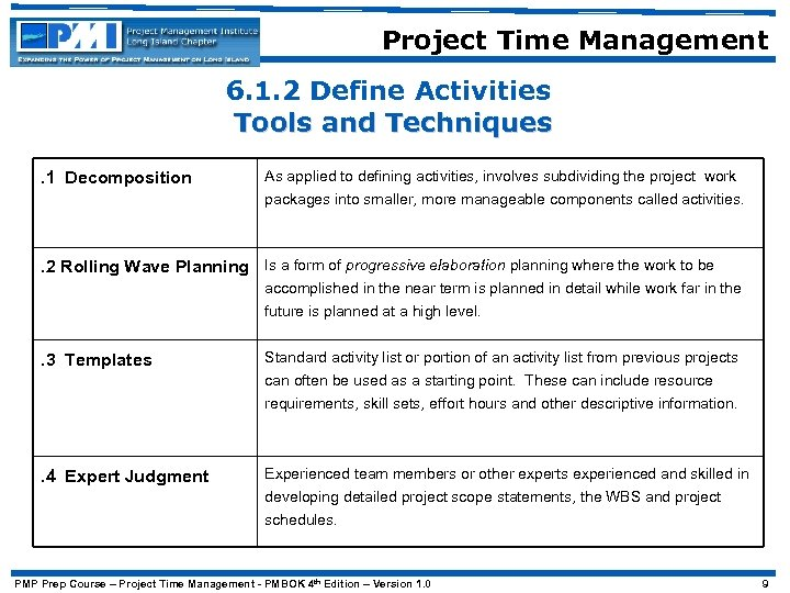 Project Time Management 6. 1. 2 Define Activities Tools and Techniques. 1 Decomposition As