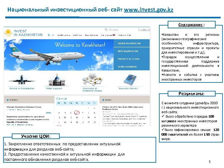 Национальный инвестиционный веб- сайт www. invest. gov. kz Содержание : В текущем году в
