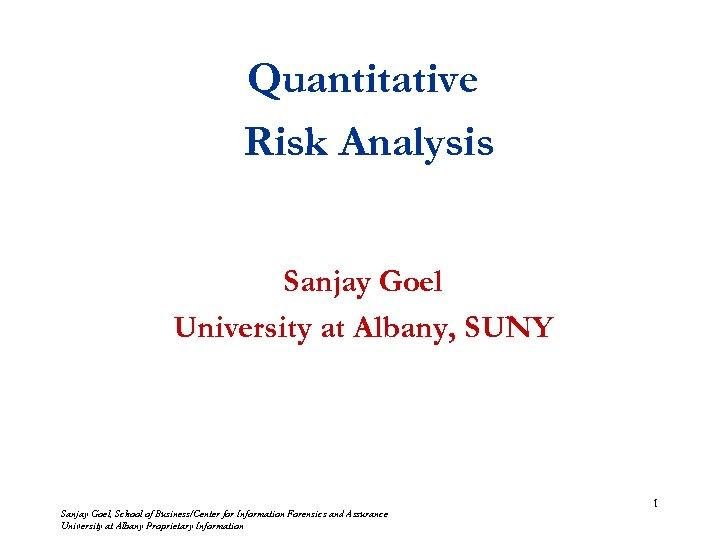 Quantitative Risk Analysis Sanjay Goel University at Albany, SUNY Sanjay Goel, School of Business/Center