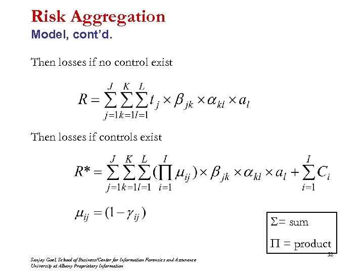 Risk Aggregation Model, cont'd. Then losses if no control exist Then losses if controls