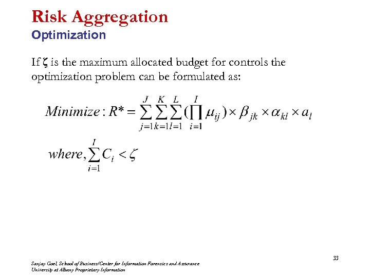 Risk Aggregation Optimization If ζ is the maximum allocated budget for controls the optimization