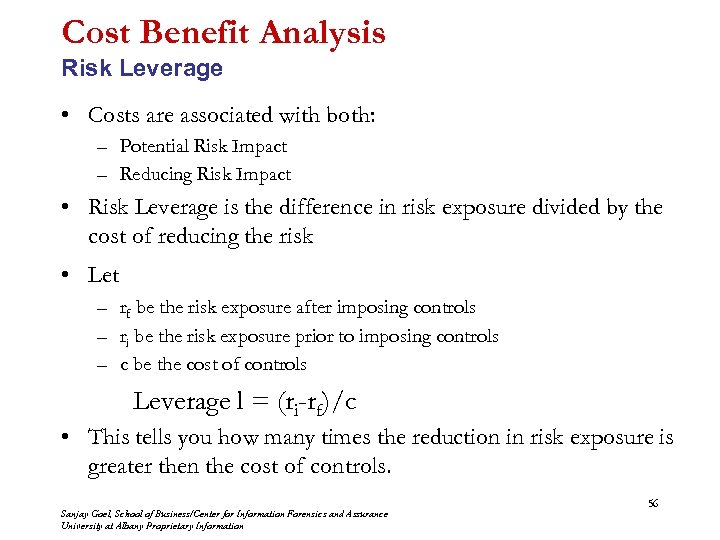 Cost Benefit Analysis Risk Leverage • Costs are associated with both: – Potential Risk