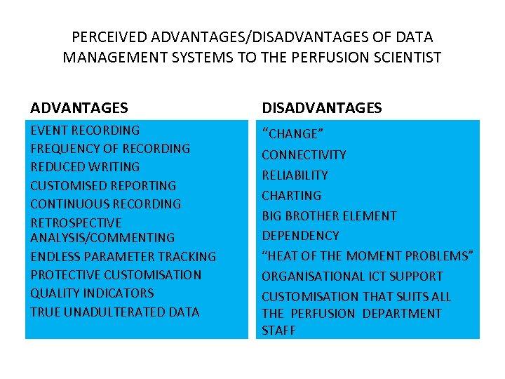 PERCEIVED ADVANTAGES/DISADVANTAGES OF DATA MANAGEMENT SYSTEMS TO THE PERFUSION SCIENTIST ADVANTAGES DISADVANTAGES EVENT RECORDING