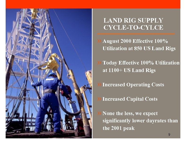 LAND RIG SUPPLY CYCLE-TO-CYLCE » August 2000 Effective 100% Utilization at 850 US Land