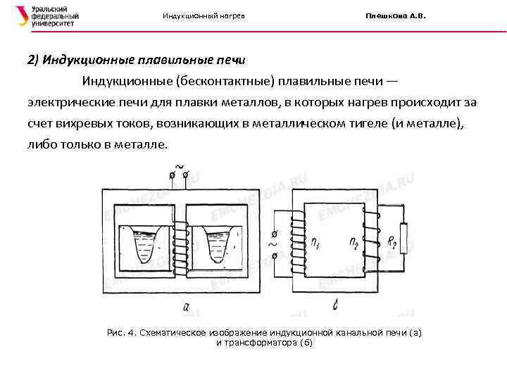 Индукционный нагрев Плешкова А. В. 2) Индукционные плавильные печи Индукционные (бесконтактные) плавильные печи —