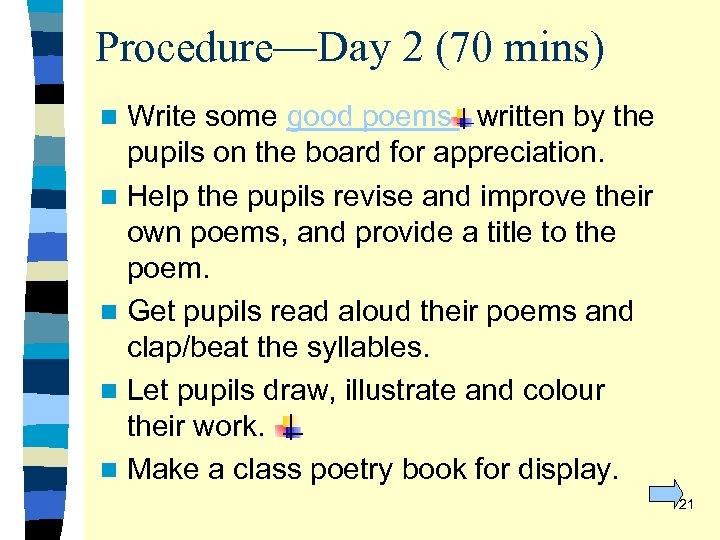 Procedure—Day 2 (70 mins) Write some good poems written by the pupils on the