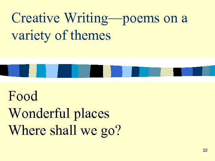 Creative Writing—poems on a variety of themes Food Wonderful places Where shall we go?