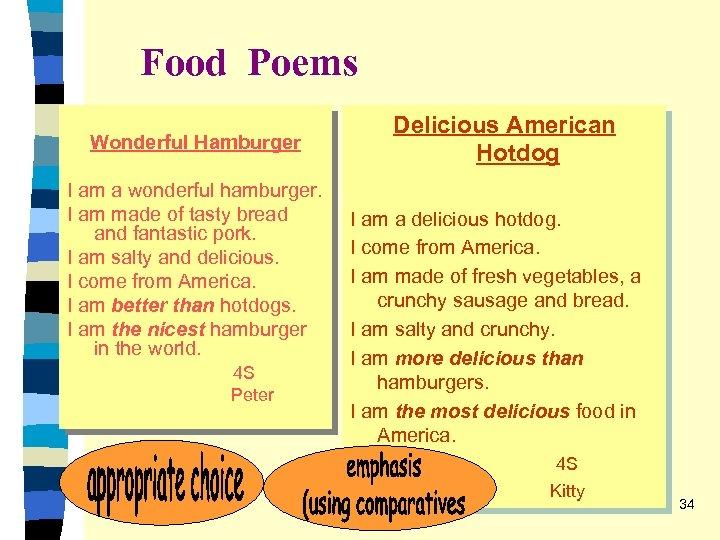Food Poems Wonderful Hamburger I am a wonderful hamburger. I am made of tasty