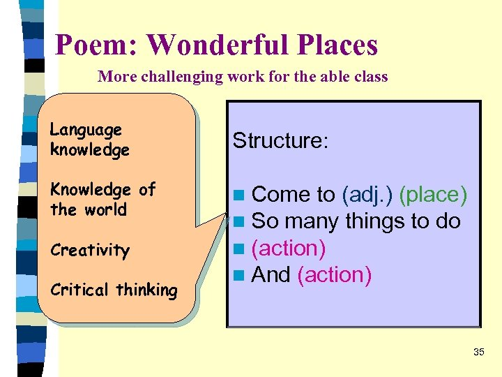Poem: Wonderful Places More challenging work for the able class Language knowledge Knowledge of