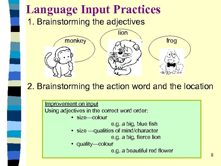 Language Input Practices 1. Brainstorming the adjectives lion monkey frog 2. Brainstorming the action