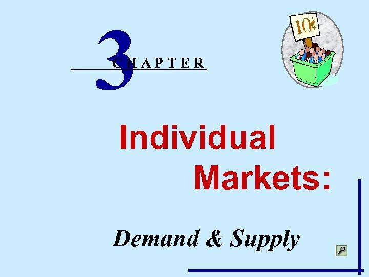 3 CHAPTER Individual Markets: Demand & Supply