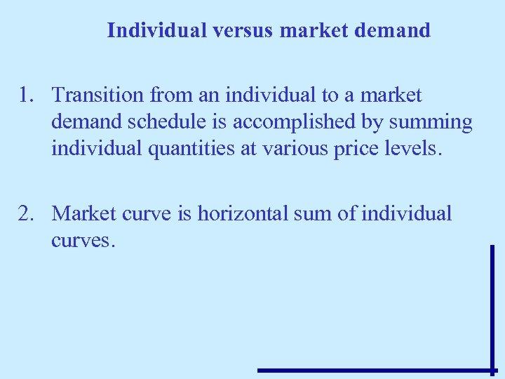 Individual versus market demand 1. Transition from an individual to a market demand schedule