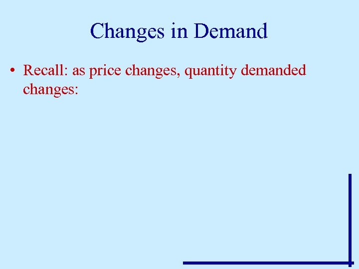 Changes in Demand • Recall: as price changes, quantity demanded changes: