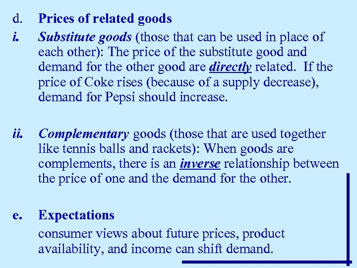 d. i. Prices of related goods Substitute goods (those that can be used in