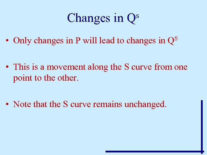 Changes in Qs • Only changes in P will lead to changes in QS
