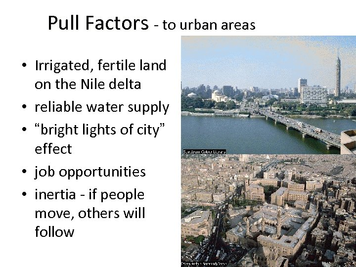Pull Factors - to urban areas • Irrigated, fertile land on the Nile delta