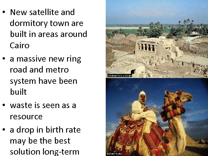 • New satellite and dormitory town are built in areas around Cairo •