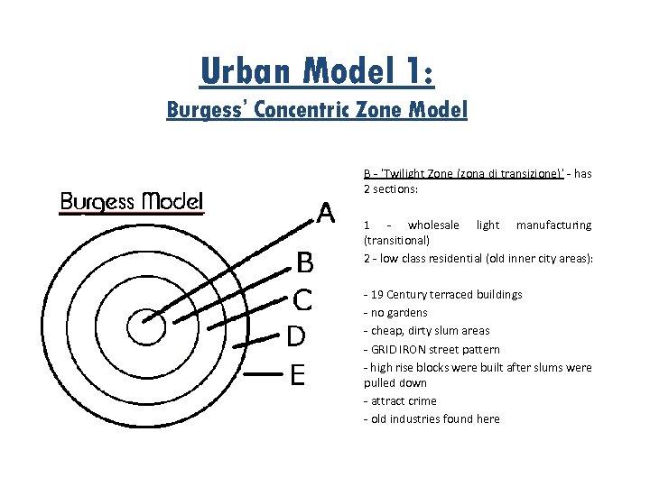 Urban Model 1: Burgess' Concentric Zone Model B - 'Twilight Zone (zona di transizione)'
