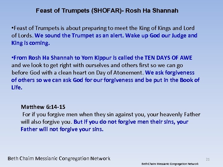 Feast of Trumpets (SHOFAR)- Rosh Ha Shannah • Feast of Trumpets is about preparing
