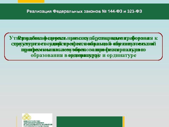Реализация Федеральных законов № 144 -ФЗ и 323 -ФЗ Утверждены федеральные государственные требования к