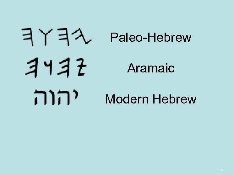 Paleo-Hebrew Aramaic Modern Hebrew 8