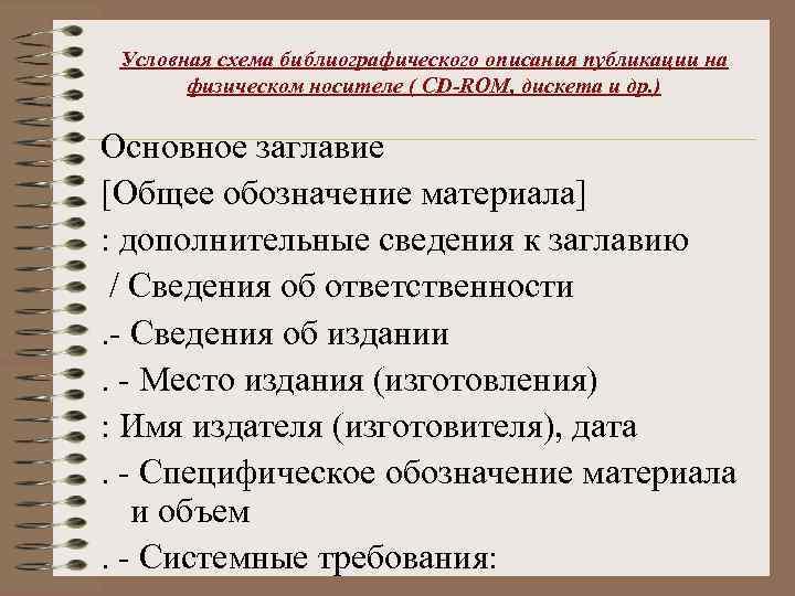 Условная схема библиографического описания публикации на физическом носителе ( CD-ROM, дискета и др. )