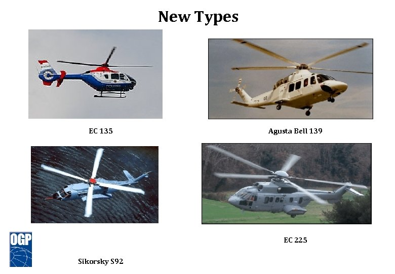 New Types EC 135 Agusta Bell 139 EC 225 Sikorsky S 92