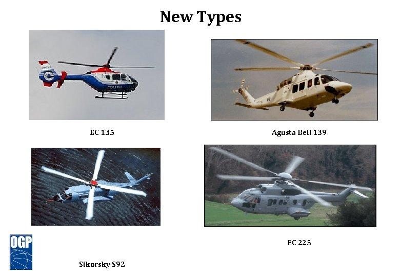 New Types EC 135 Agusta Bell 139 EC 225 Sikorsky S 92