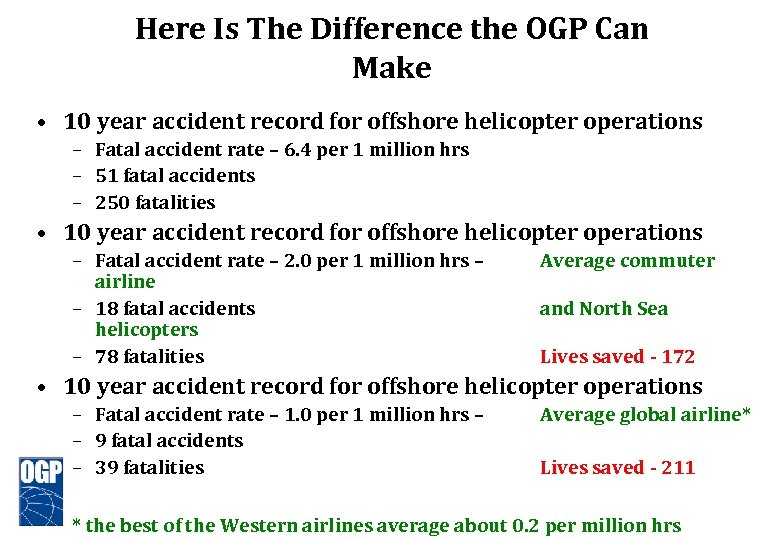 Here Is The Difference the OGP Can Make • 10 year accident record for